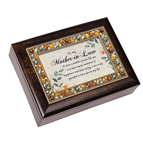 Mother in Law Memories Grateful Jeweled Amber Earth Tones Keepsake Music Box Plays Edelweiss