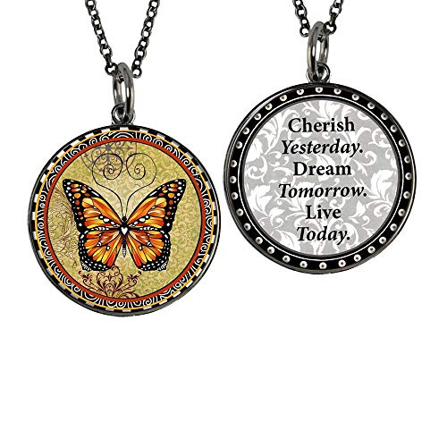 Spirit Lala Reversible Orange Monarch Butterfly Circle Pendant Necklace with Card and Gift Box