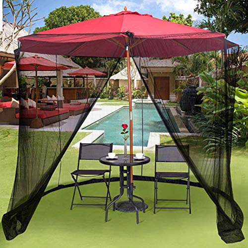 Leoattend Patio Umbrella Mosquito Netting - Polyester Mesh Screen with Zipper Opening and Water Tube at Base to Hold in Place - Helps Protect from Mosquitoes - Fits Umbrellas and Patio Tables