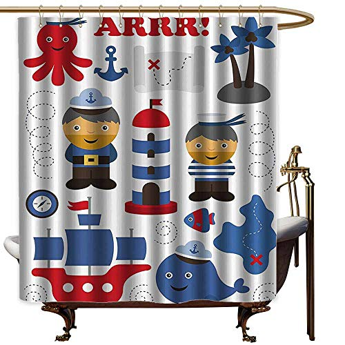 (StarsART Shower Curtains hookless with Liner Ahoy Its a Boy,Sea Theme Objects Collection Fishes Ship Lighthouse Sailors Octopus,Blue Red White,W60 x L72,Shower Curtain for Shower stall)