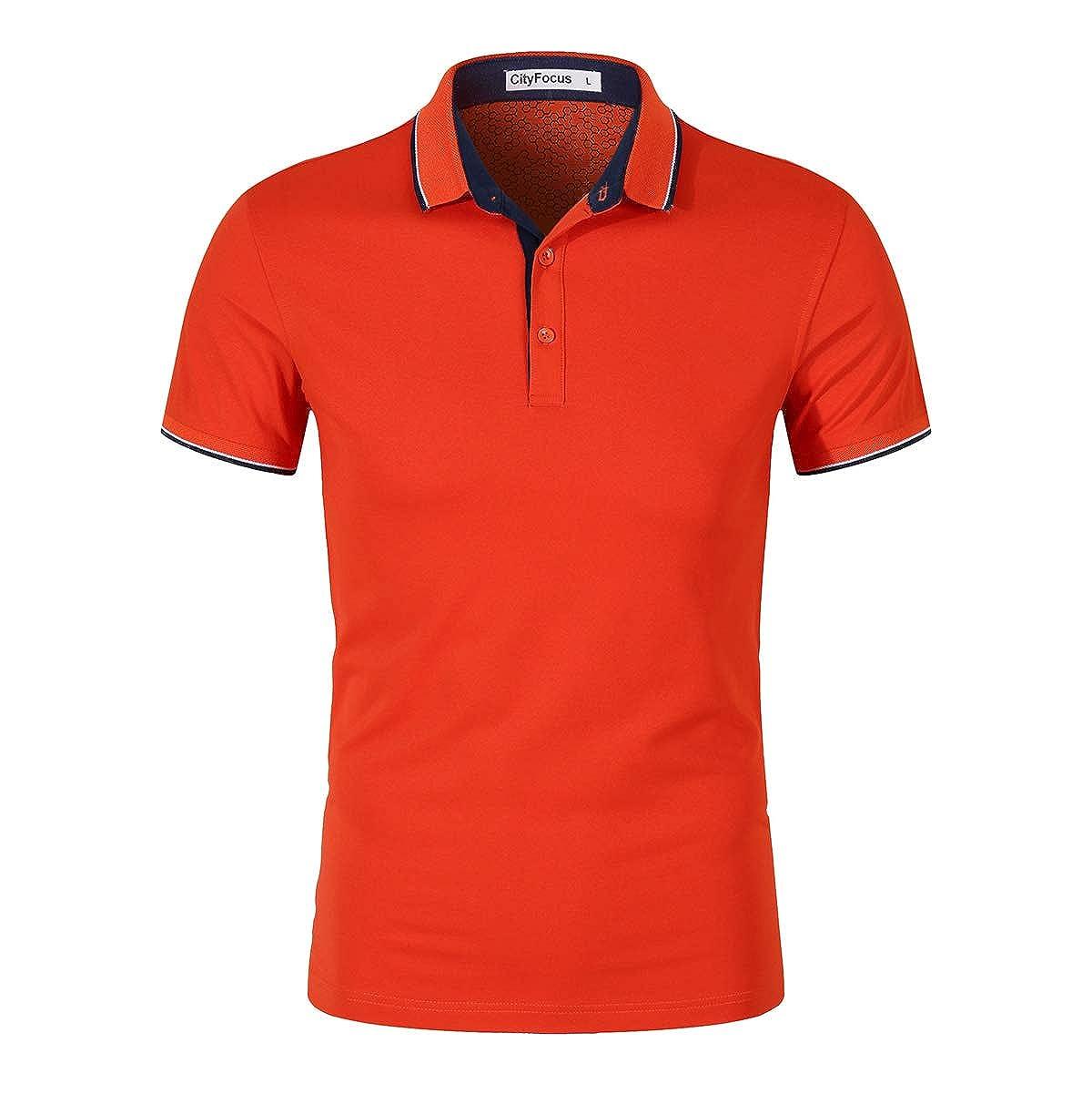 New Mens Polo Shirt Short Sleeve Plain Tee Twin Contrast Tip Collar Top T-Shirt