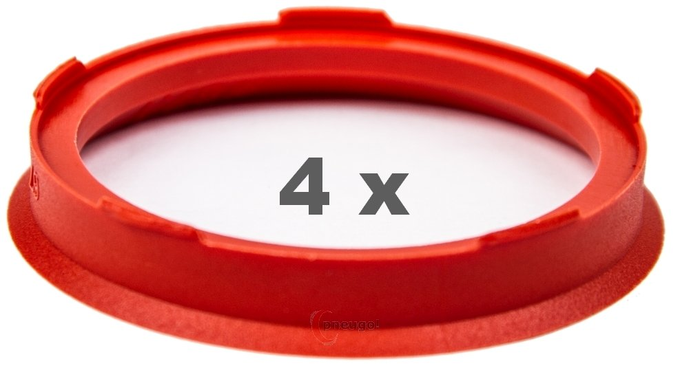 4x Centering Ring 67.0/ mm to 57.1/ mm Red//Red
