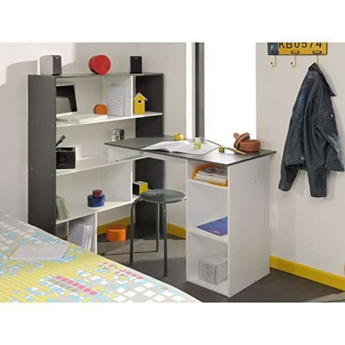 Stanley bureau d'angle 91 cm - blanc et gris ombré