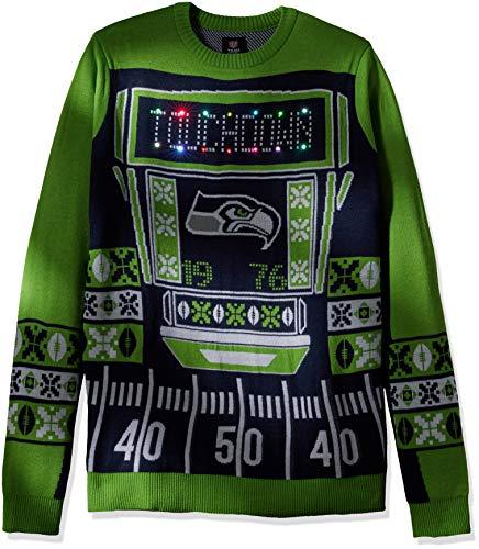 buy online fe53f 23ef4 FOCO NFL Seattle Seahawks Ugly Light Up Crew Neck Sweater, Team Color,  Medium