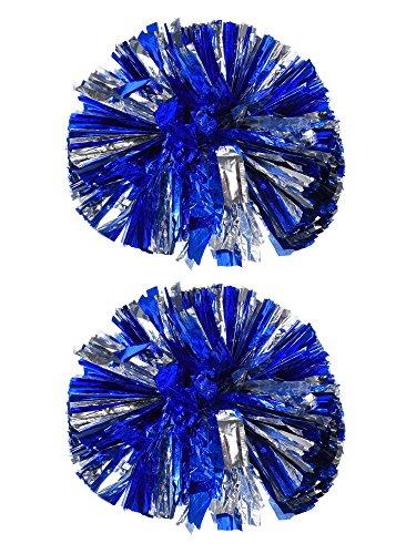 Bememo 2 Pack Cheerleading Pompoms Metallic Flower Ball Foil Plastic Rings Pom Poms for Cheer, Dance Team (Blue and Silver) for $<!--$8.99-->