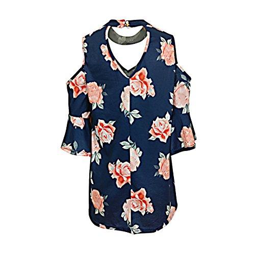 SG V-Ausschnitt Trompete Ärmel Tunika Blumenmuster Kaltes Schulter T Shirt
