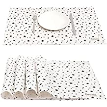 Caroeas Placemats, STAR Cotton Linen Stain-proof Eat Mat Washable Square Placemats for Family Dining, Outdoor Picnic, Kids Use, Party, Set of 4