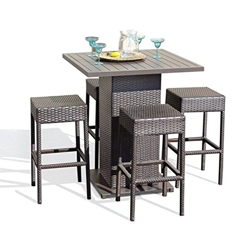 TK Classics 5 Piece Table Set with Backless Barstools Outdoor Wicker Patio Furniture