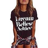 ZAWAPEMIA Womens Cotton Letter Printed Casual T-Shirt Top Black US L