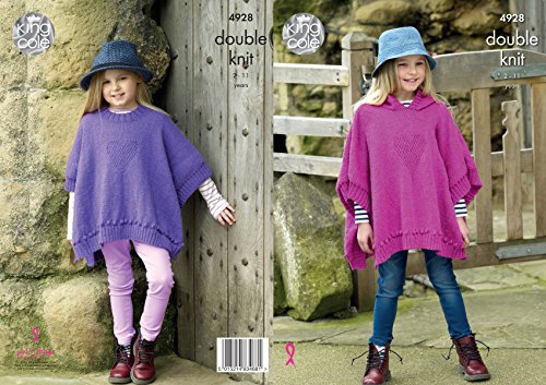 King Cole Kids Double Knitting Pattern Girls Round Neck or Hooded Heart Motif Ponchos (4928)