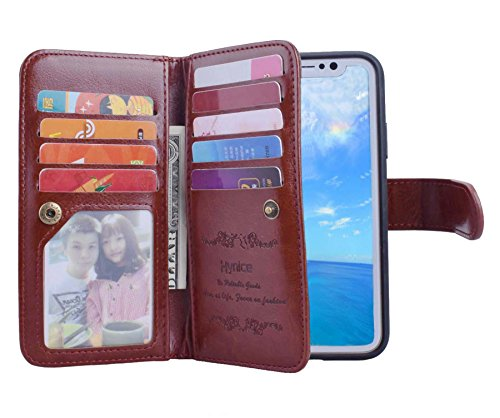 iPhone X Wallet Case,Hynice Leather Detachable Magnetic Flip 9 Card Slots Holder Wrist Strap Purse Removable Slim Protective Cover for Apple iPhone X 5.8 inch (Brown) by Hynice