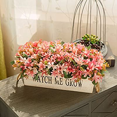 The wooden fence swinging piece of fake flowers used to decorate a living room balcony tea home flowers plants, 2 Pack