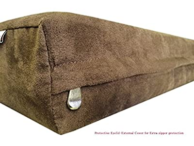 40''x35''x4'' Deluxe Top Quality Chocolate Brown MicroSuede Fabric 100% Washable Resistant Anti Slip Luxury Comfort Replacement Dog Bed Zippered Duvet Gusset Case - Cover Only