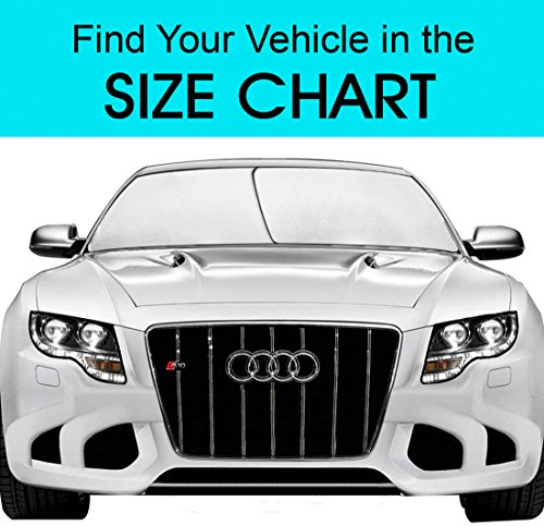 EzyShade Windshield Sunshade + Bonus Product. Easy-Read Size Chart with Your Vehicle. Universal Hassle-Free Car Sun Shades Keep Your Vehicle Cool. UV Sun and Heat Reflector. Standard (Medium) Size