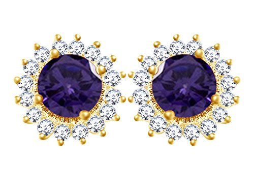 Gold Over Sterling Violet - 14k Yellow Gold Over Sterling Silver Simulated Violet Alexandrite & White CZ Sunflower Womens Stud Earrings