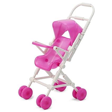 Pinzhi® Mignon cochecito carrito cuna para Barbie muñeca juguete, color rosa y blanco