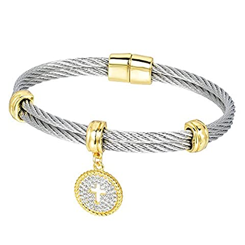 Bijoux Bobbi Ladies Faceted Cubic Zirconia Cable Wire Charm Bangle - Cross - BB3901BKPV - Cubic Zirconia Cross Charm