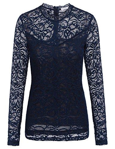 Plunge Damen Langarmshirt mit Floral Spitze und Zurück Reißverschluss T-Shirt Top Bluse Shirt , Farbe - Blau , Gr. S