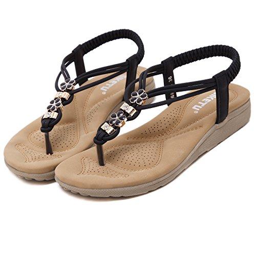 Sandali Da Spiaggia Piatti Da Passeggio Aguzze Borchiati Per Donna Nero