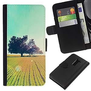 YiPhone /// Tirón de la caja Cartera de cuero con ranuras para tarjetas - El campo Glow Árboles - LG G2 D800