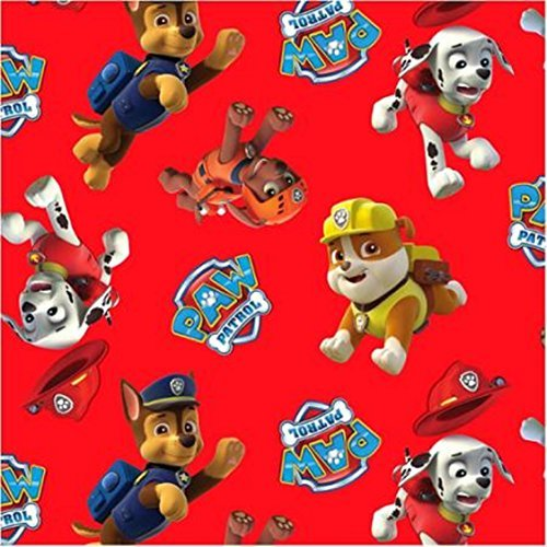 (Paw Patrol COTTON Fabric By The Yard (RED))