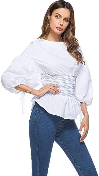 Blusas Mujer Primavera Otoño Colores Sólidos Camisas Fashion Hipster Bonita Slim Outdoor Confortable Fit Camisa Elegante Cuello Redondo Manga De Burbuja Top Shirt: Amazon.es: Ropa y accesorios