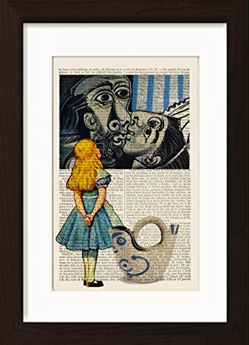 Alice In Wonderland Meets Pablo Picasso's The Kiss Mounted / Matted Dictionary Art Ready To Frame (Picasso Mixed Media)