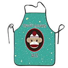 Red And Brown Sock Monkey First Birthday Professional Bid Apron For Adult