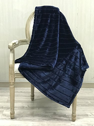Great Features Of Bertte Ultra Velvet Plush Super Soft Decorative Stripe Throw Blanket-50x 60, Nav...