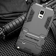 Rugged Armor Hybrid Impact Heavy Duty Hard+Soft Case Cover Kick Stand For GALAXY NOTE 4