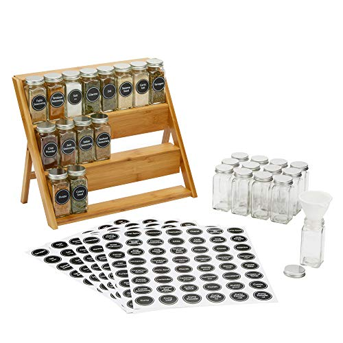 SpiceLuxe Recliner Spice Rack Complete Organization Set | Organize Spices in Drawer, Counter, or Cabinet | Includes 24 Spice Jars + 4 Spares, 336 Printed Labels, and Spice Funnel