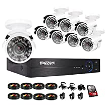 TMEZON 8CH 1080P DVR AHD Security Camera System W/ 8x HD 1080P 2.0MP Fixed Camera Home Surveillance System 3.6mm Wide Angel Lens Camera,Including 1TB HDD