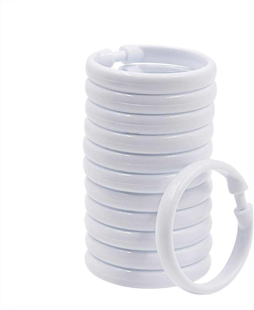 Qulable Shower Curtain Rings-12 Pack- Plastic Curtain O Rings Hook Glide Easily on Bathroom Shower Rod (White, 12 Pack) White, 12 Pack