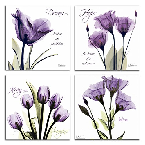 - GOUPSKY ART - Modern Giclee Prints Framed Artwork Dream Hope Imagine and Believe Purple Flickering Flowers Pictures Photo Paintings on Canvas Wall Art for Home Wall Decor 4Pcs/Sets