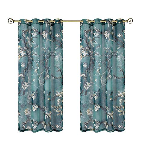 Taisier Home Traditional Chinese Paint of Flowers Plum Blossom Decorative Ring Top Print Sheer Curtains,Elegant Green Sheer Panels 95 Inch Length for Bedroom(Set of 2 Panel)
