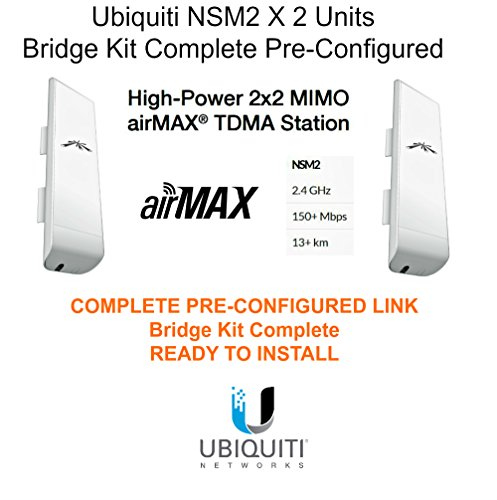 (Ubiquiti NSM2 X 2 Units Nanostation M2 Bridge Kit Complete)