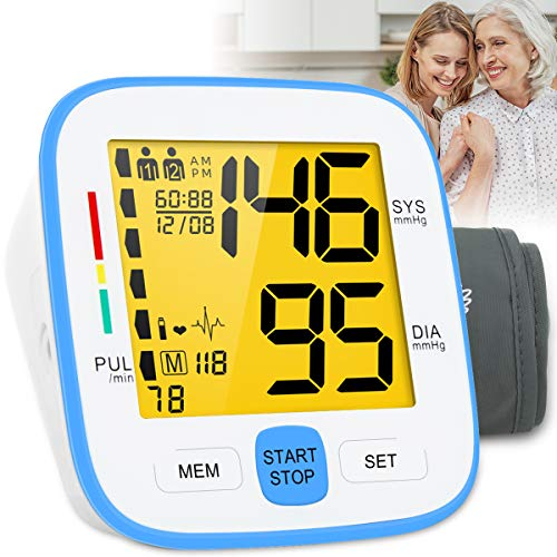 Topffy Blood Pressure Monitor,Upper Arm Blood Pressure Monitor Latest Tri-Backlit Large Cuff BP Device Heart Monitor 90…
