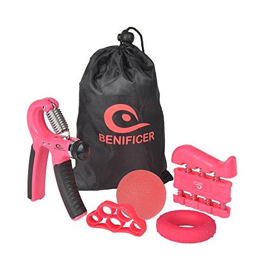 Benificer Hand Gripper Strengthener 5 Pack Adjustable Grip Exerciser, Finger Stretcher Resistance Extensor Bands, Finger Strength Trainer, Hand Therapy Ball & Exercise Ring for Guitar, Rock Climbing ()