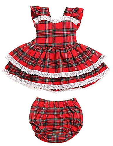 Toddler Baby Girls Trendy Plaid Lace-Trimmed Backless Dress Ruffle Skirt with Bloomer Shorts Set Infant 2PC Summer Outfit(18-24M/size100) Red
