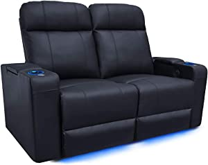Valencia Piacenza Home Theater Seating | Premium Top Grain Leather, Power Recliner, Power Headrest, LED Lighting (Row of 2 Loveseat)