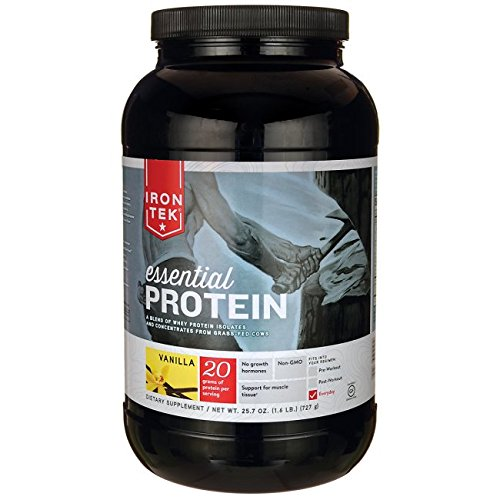 Minimum Iron (Iron Tek Essential Natural High Protein, Vanilla Cake, 1.6 LB)