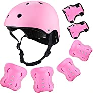 Purpol Kids Adjustable Helmet, with Sports Protective Gear Set Knee Elbow Wrist Pads for Toddler Age 3-8 Boys
