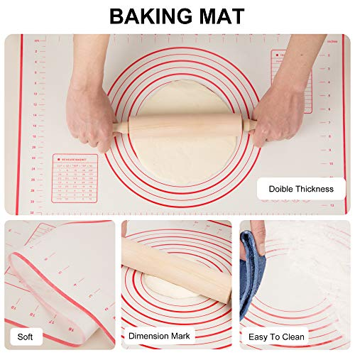 Pastry Cutter, Dough Scraper, Rolling Pin, Silicone Baking Mat, Stainless Steel Dough Cutter Pastry Blender Set for Baker, Professional Dough Roller Wood Rolling Pin Baking Mat, 4 Set Bread Bake Tools