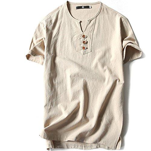 [XINXIKEJI]夏服 メンズ tシャツ メンズ リネンシャツ ビジネス tシャツ 無地 vネック インナー ボーイズ 男の子 Tシャツ 半袖 大きいサイズ 修身 カジュアル シャツ ティーしゃつ 上着 通勤 通学 日常用 M-5XL