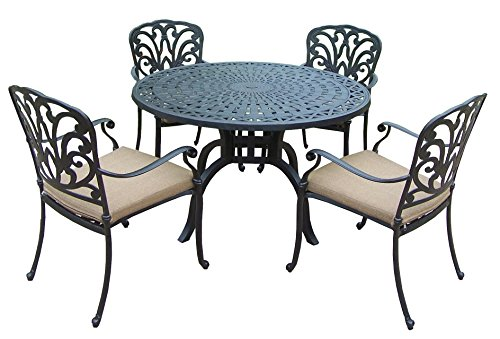 Oakland Living Hampton 5-Piece 48-Inch Dining Table Set with Cushions