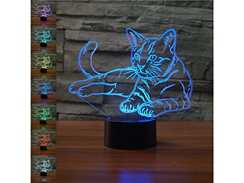 Creative Pet Cat Lamp 3D Lamp Night Light Beside Table Lamp 7 Colors Changing Touch Switch Desk Lamps with Acrylic Flat ABS Base and USB Cable for Gift