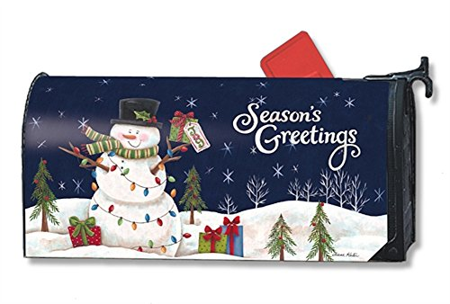 MailWraps Snowman Lights Mailbox Cover #01240