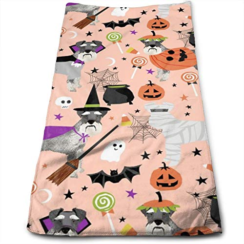 Schnauzer Dog Halloween Spooky Dog Costumes - Peach Hand Towels Dishcloth Floral Linen Hand Towels Super Soft Extra Absorbent for Bath,Spa and Gym 11.8