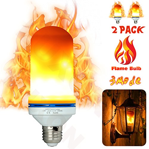 LED Flame Light Bulbs Fire Flicker Effect Lamp 3 Mode Decorative LED Bulb Flickering 5W Flame Decorations LED Lights E26 Base Vintage Unique Outdoor Fire Lights for Antique Lantern Bar Hotel 2- Pack - 3 Led Lamp