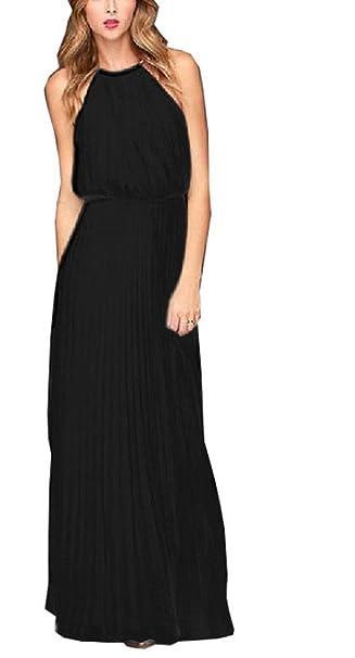 266bdde64 FashionRun Halter Casual Maxi Dress Women's Chiffon Formal Evening Dress  Black 2